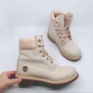 Timberland light pink metallic chunky boots